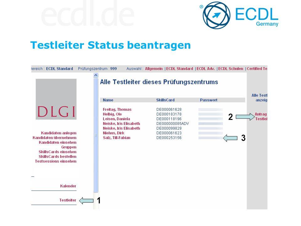 Testleiter Status beantragen