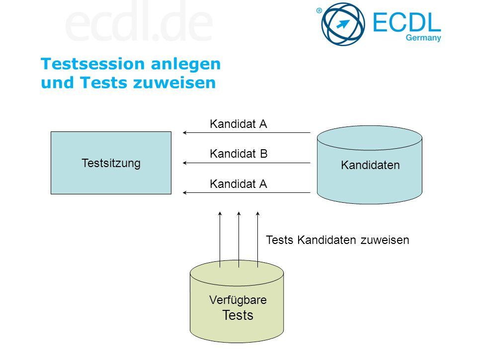 Testsession anlegen und Tests zuweisen