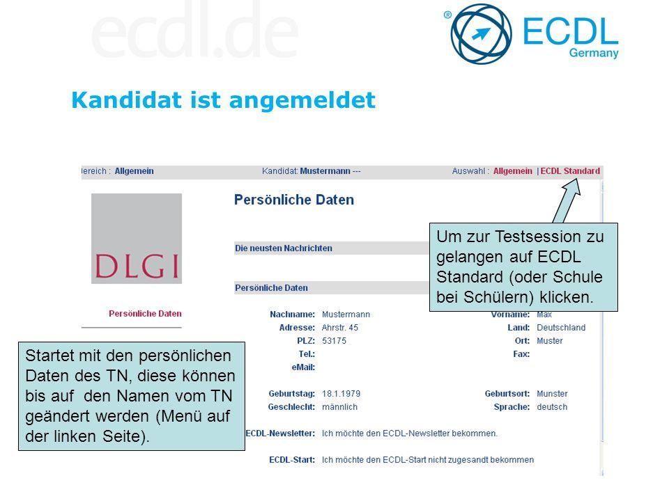 Kandidat ist angemeldet