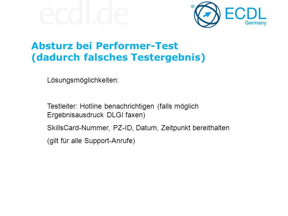 Absturz bei Performer-Test (dadurch falsches Testergebnis)