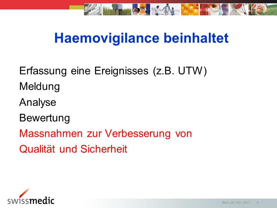 Haemovigilance beinhaltet