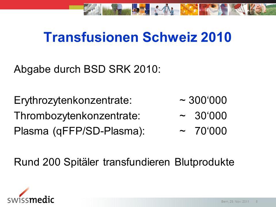 Transfusionen Schweiz 2010