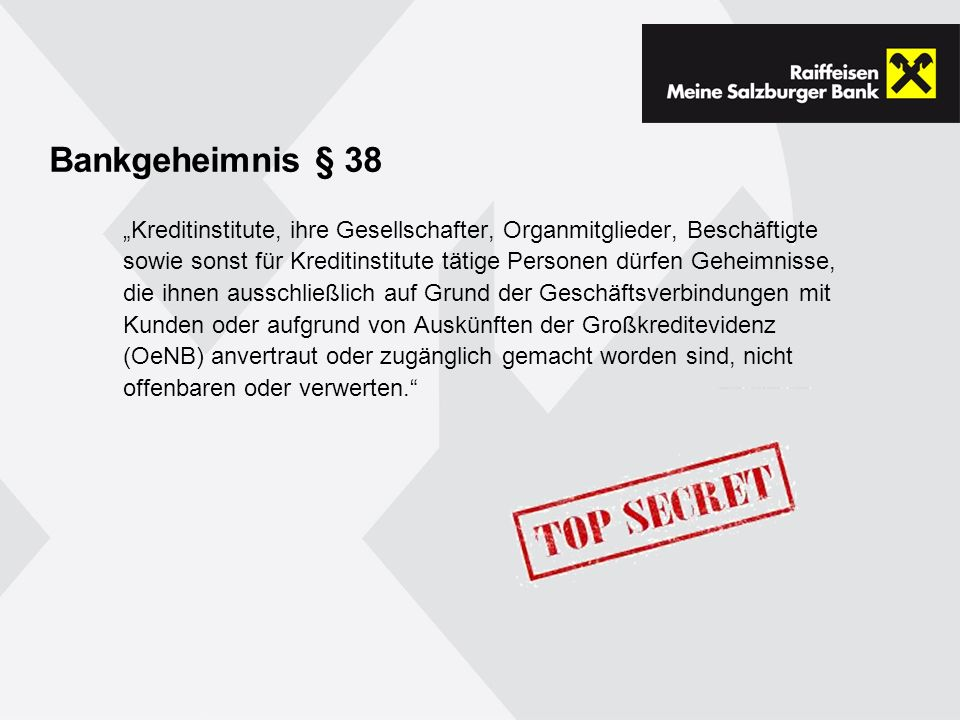 Bankgeheimnis § 38