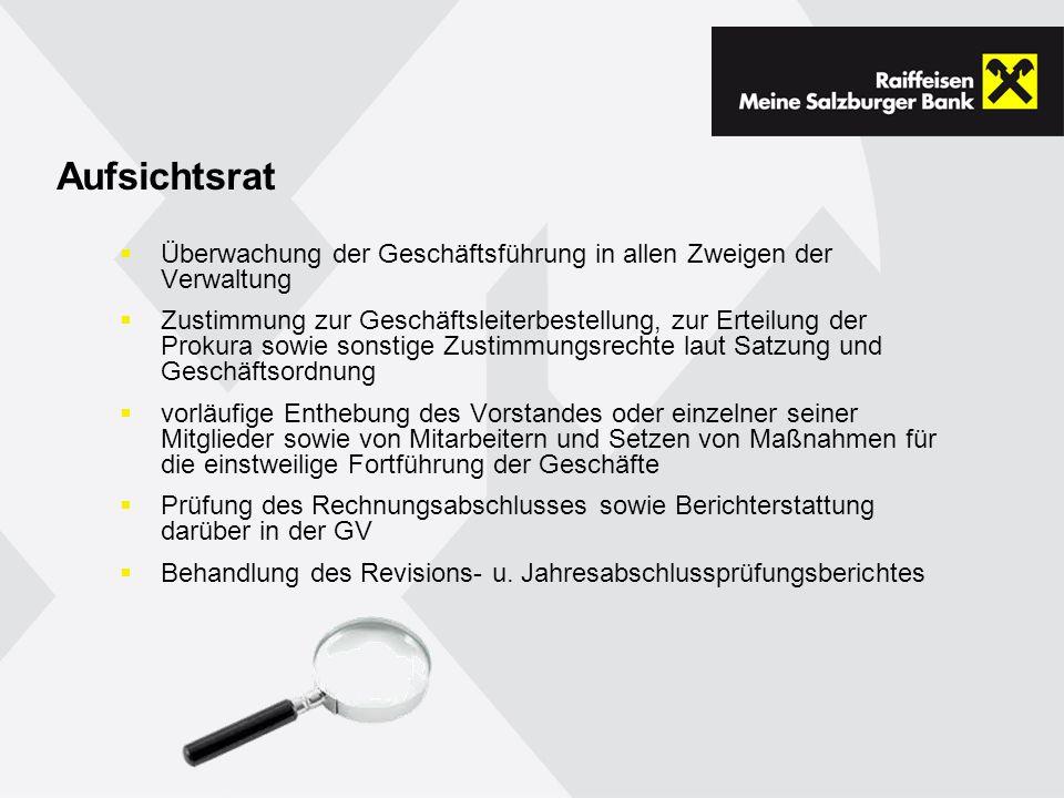 Aufsichtsrat Überwachung der Geschäftsführung in allen Zweigen der Verwaltung.