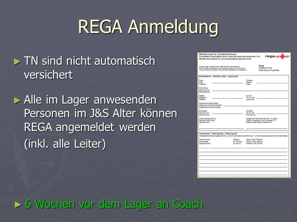 REGA Anmeldung TN sind nicht automatisch versichert