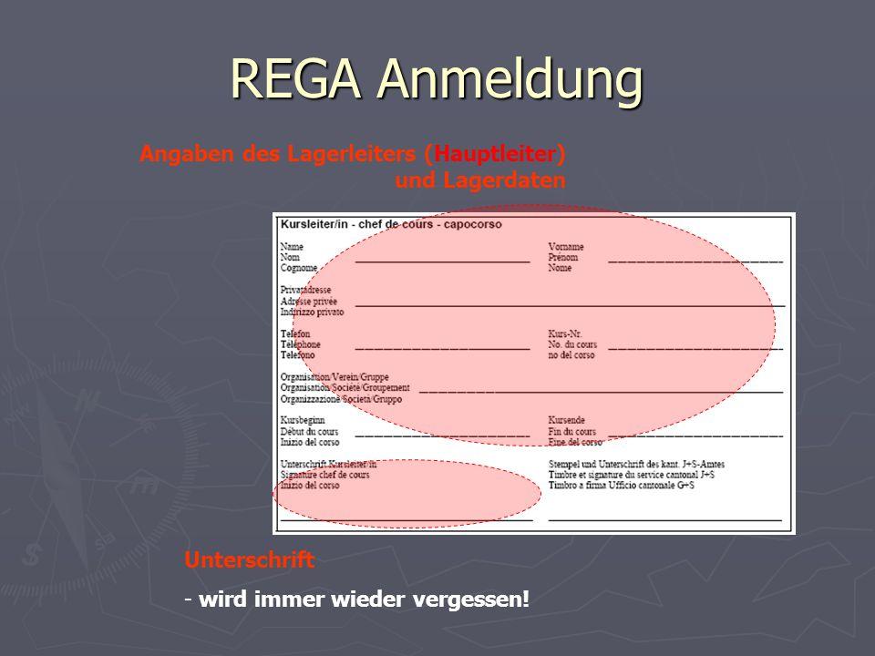 REGA Anmeldung Angaben des Lagerleiters (Hauptleiter) und Lagerdaten