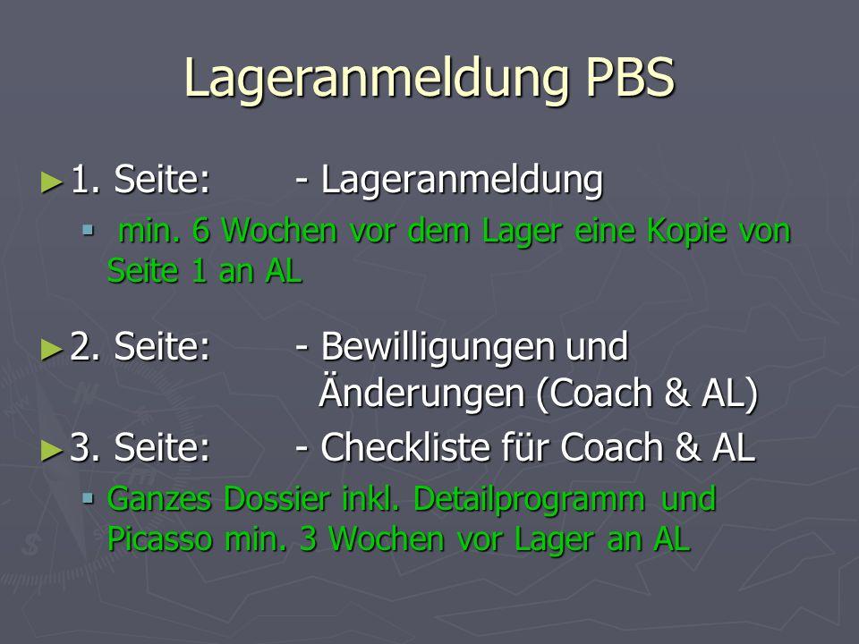 Lageranmeldung PBS 1. Seite: - Lageranmeldung