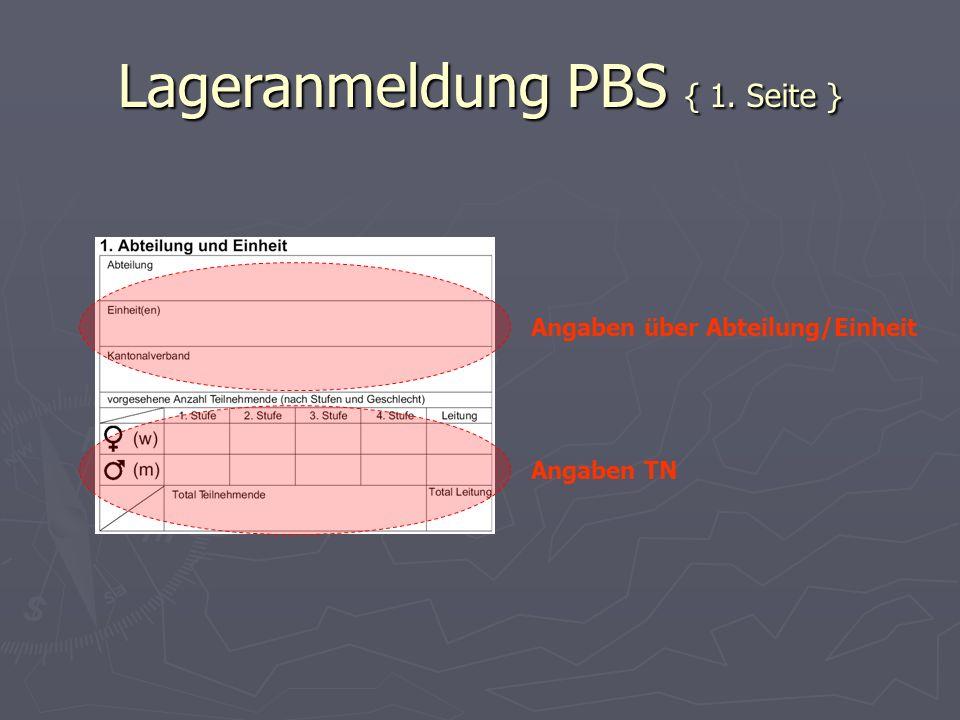 Lageranmeldung PBS { 1. Seite }