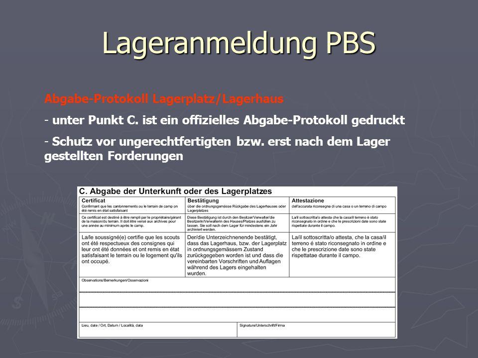 Lageranmeldung PBS Abgabe-Protokoll Lagerplatz/Lagerhaus