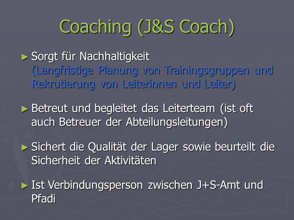 Coaching (J&S Coach) Sorgt für Nachhaltigkeit (Langfristige Planung von Trainingsgruppen und Rekrutierung von Leiterinnen und Leiter)