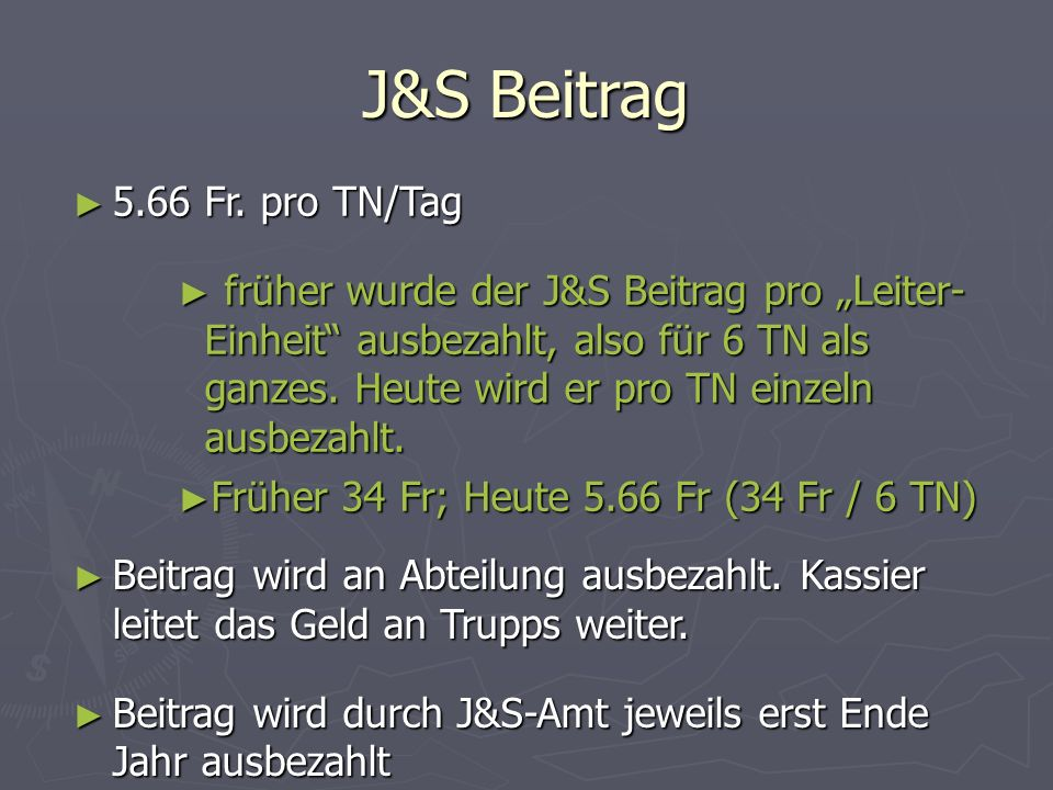 J&S Beitrag 5.66 Fr. pro TN/Tag