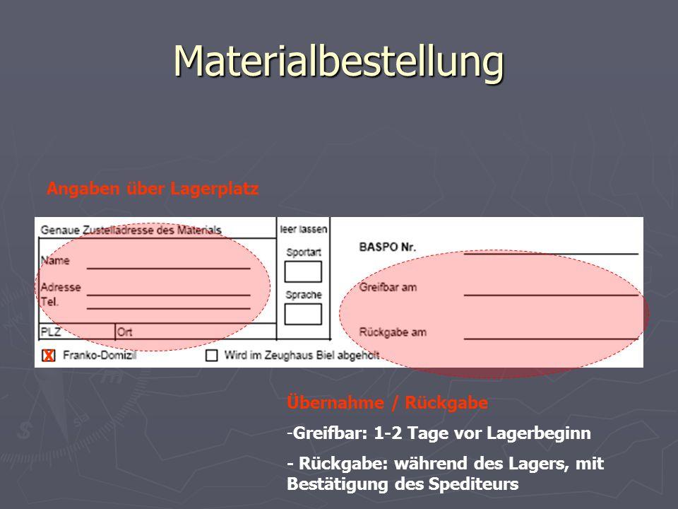 Materialbestellung Angaben über Lagerplatz X Übernahme / Rückgabe
