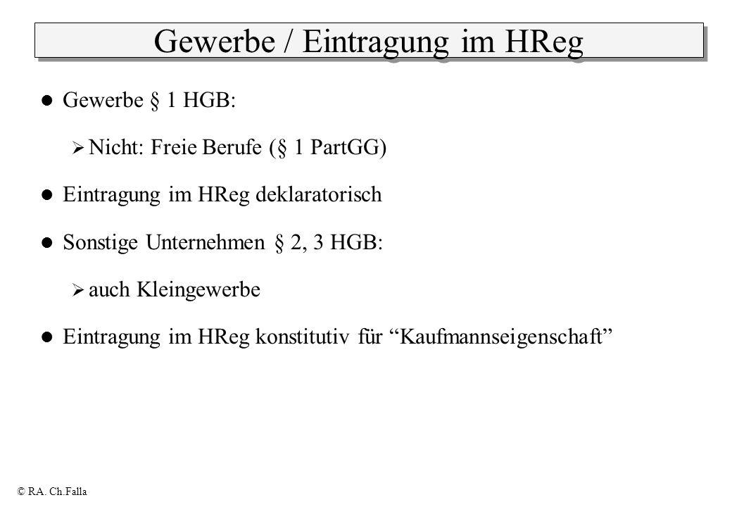 Gewerbe / Eintragung im HReg