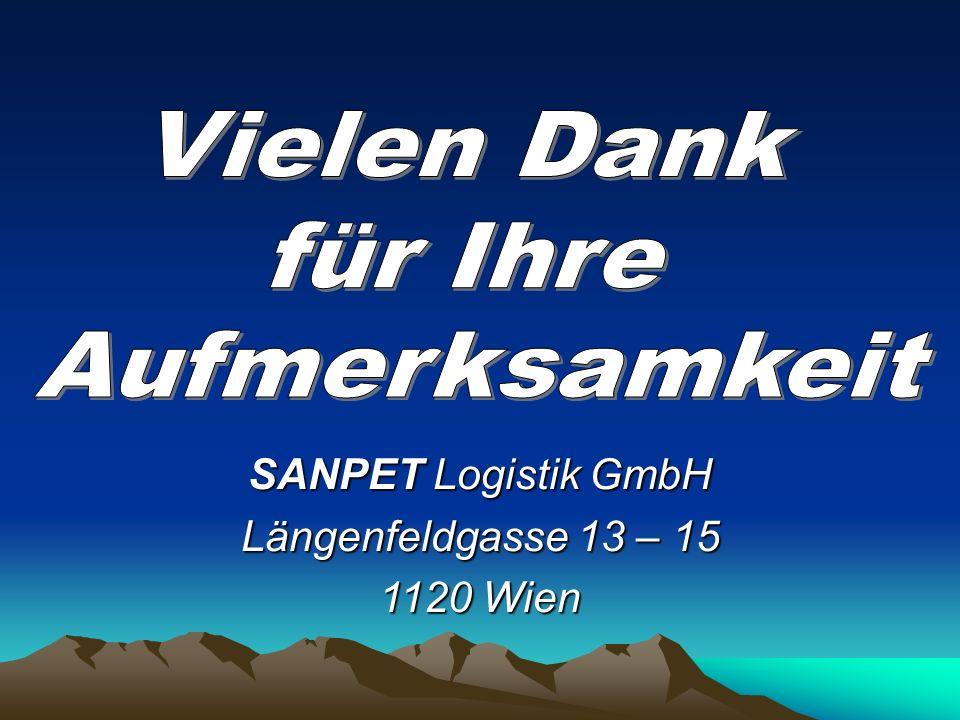 Vielen Dank für Ihre Aufmerksamkeit SANPET Logistik GmbH