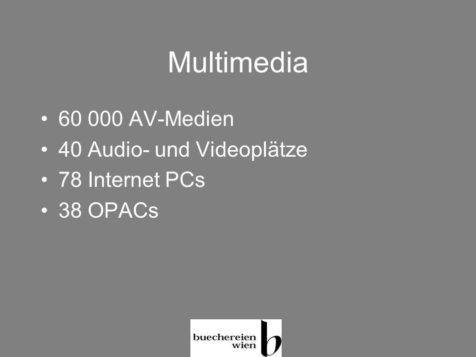 Multimedia 60 000 AV-Medien 40 Audio- und Videoplätze 78 Internet PCs