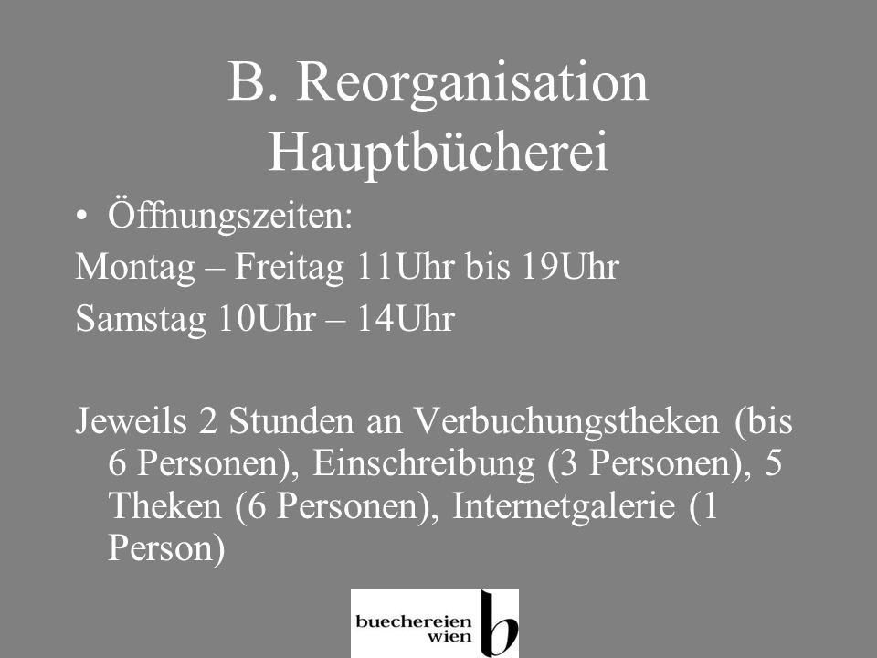 B. Reorganisation Hauptbücherei
