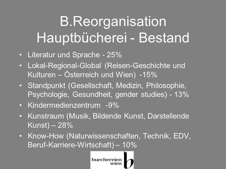 B.Reorganisation Hauptbücherei - Bestand