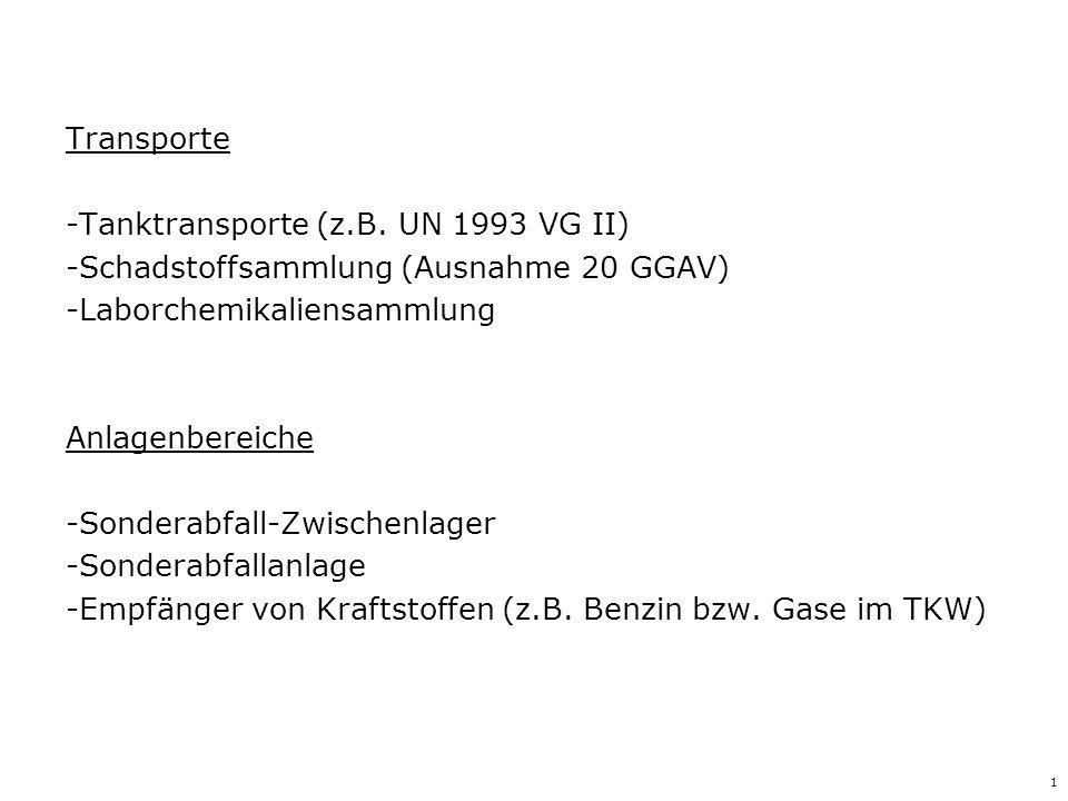 Tanktransporte (z.B. UN 1993 VG II)