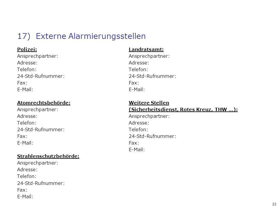 17) Externe Alarmierungsstellen