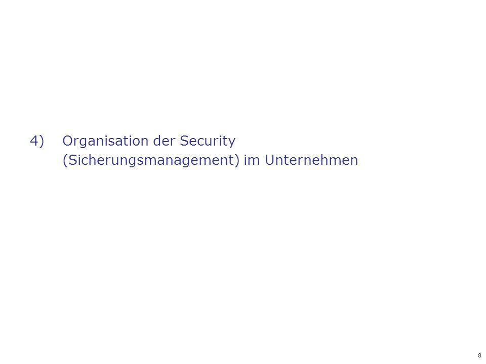 Organisation der Security (Sicherungsmanagement) im Unternehmen