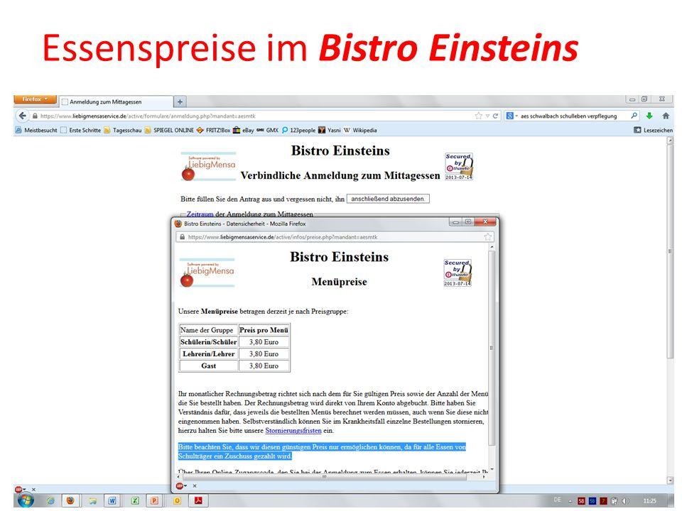 Essenspreise im Bistro Einsteins