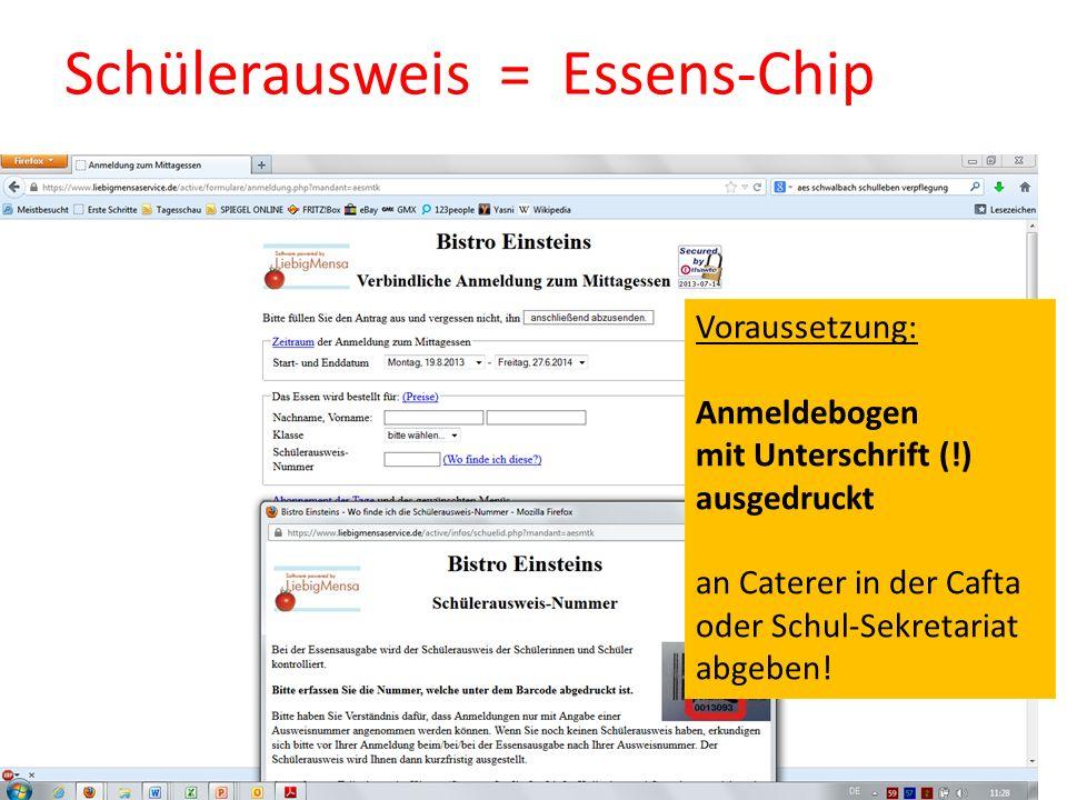 Schülerausweis = Essens-Chip
