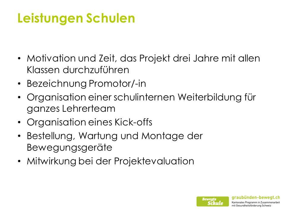Leistungen Schulen Motivation und Zeit, das Projekt drei Jahre mit allen Klassen durchzuführen. Bezeichnung Promotor/-in.