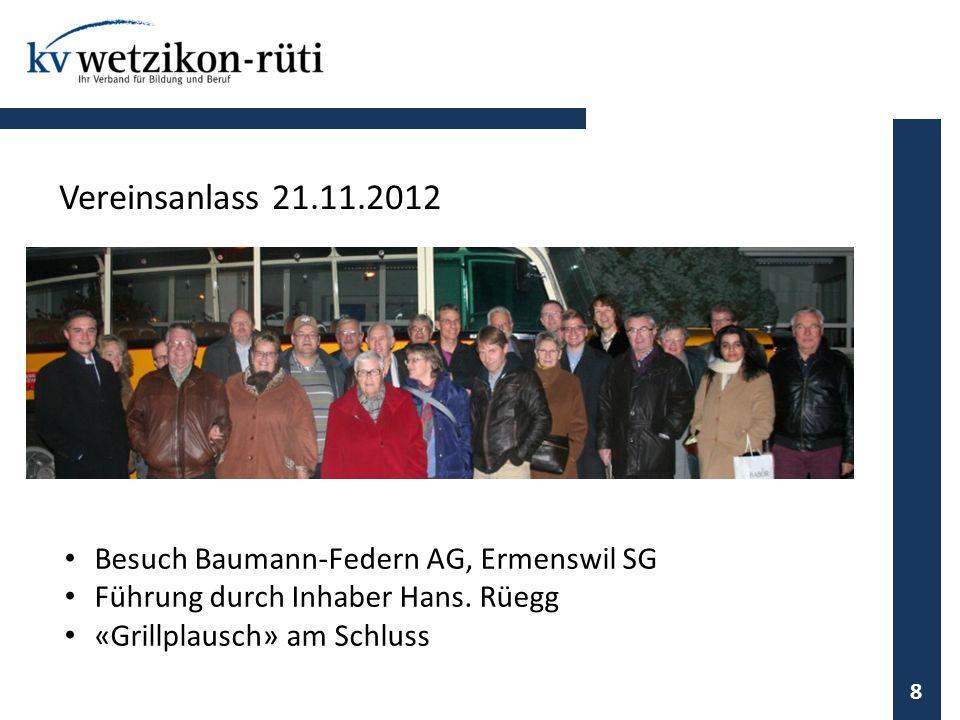Vereinsanlass 21.11.2012 Besuch Baumann-Federn AG, Ermenswil SG