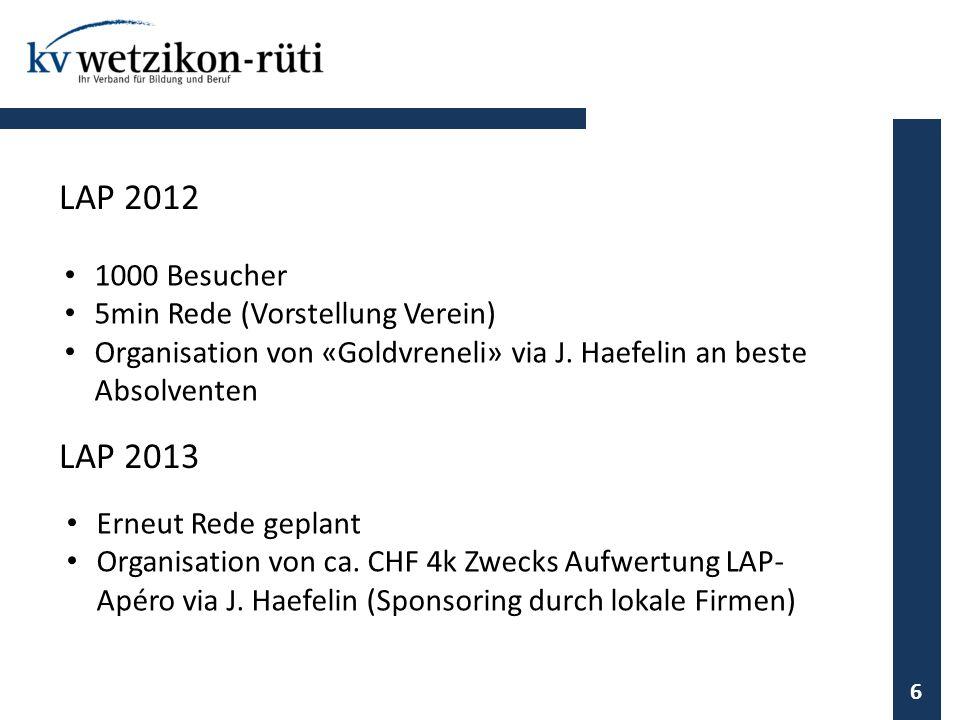 LAP 2012 LAP 2013 1000 Besucher 5min Rede (Vorstellung Verein)