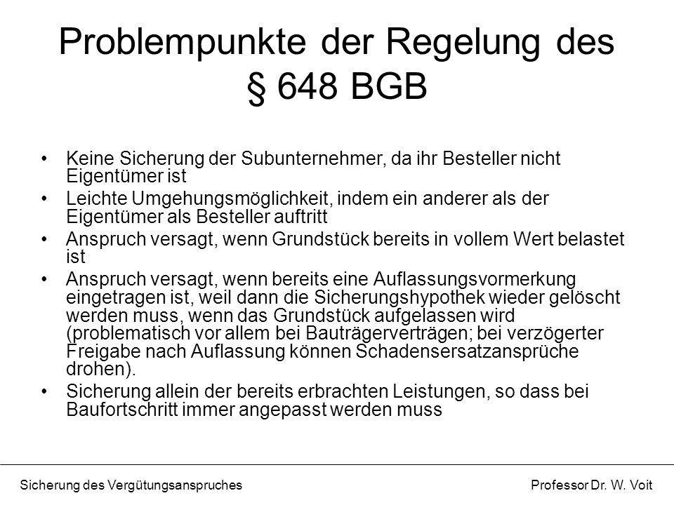 Problempunkte der Regelung des § 648 BGB