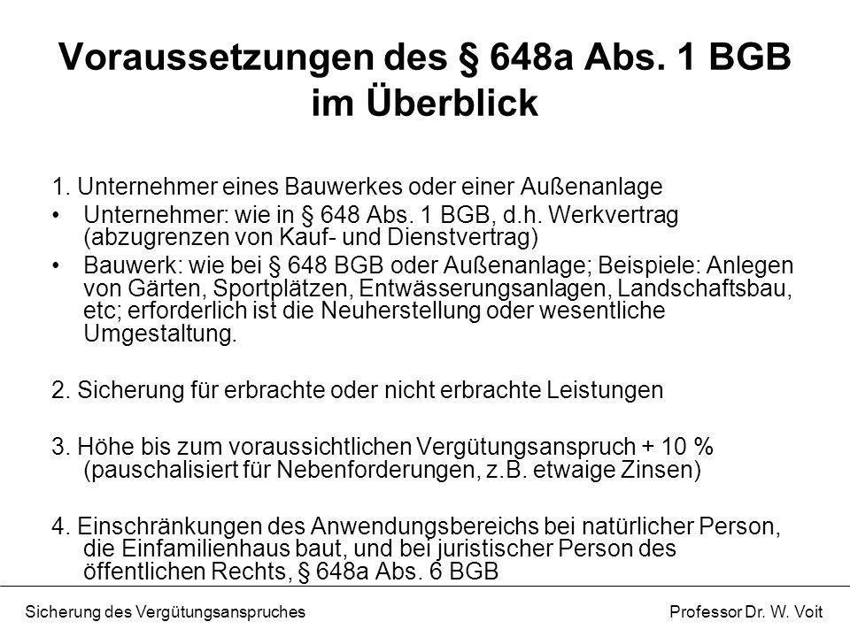 Voraussetzungen des § 648a Abs. 1 BGB im Überblick