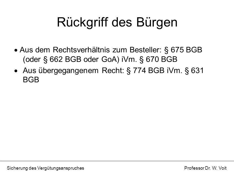 Rückgriff des Bürgen Aus dem Rechtsverhältnis zum Besteller: § 675 BGB (oder § 662 BGB oder GoA) iVm. § 670 BGB.