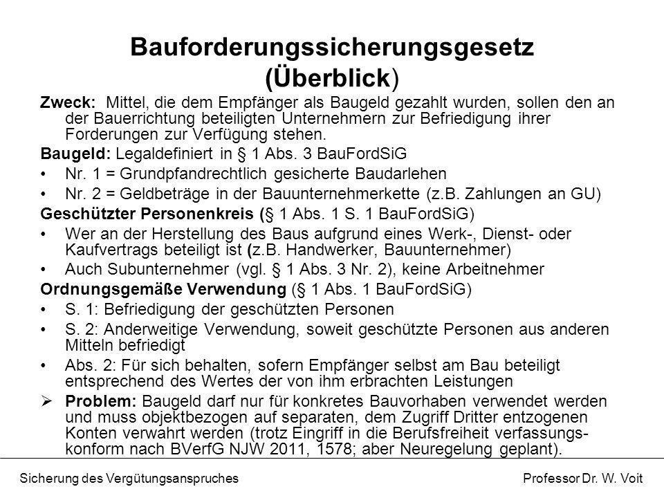 Bauforderungssicherungsgesetz (Überblick)