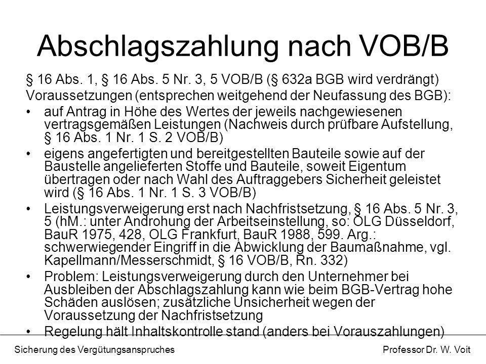 Abschlagszahlung nach VOB/B