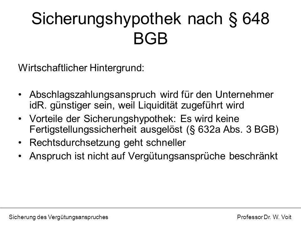 Sicherungshypothek nach § 648 BGB