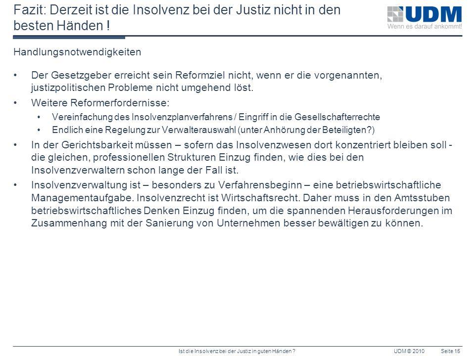 Fazit: Derzeit ist die Insolvenz bei der Justiz nicht in den besten Händen !