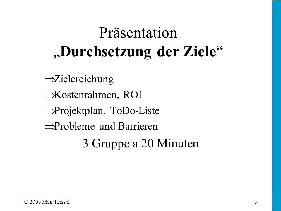 """Präsentation """"Durchsetzung der Ziele"""