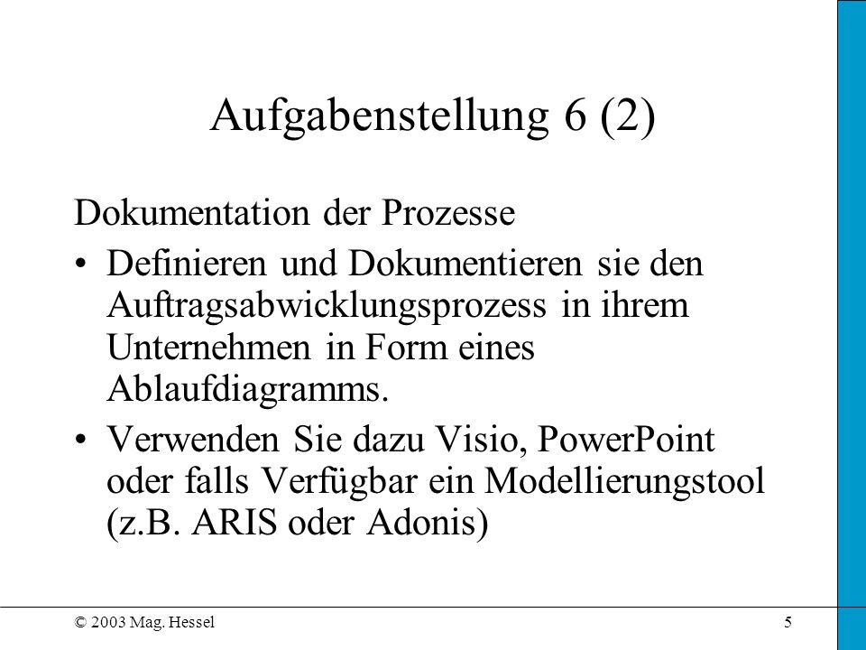Aufgabenstellung 6 (2) Dokumentation der Prozesse