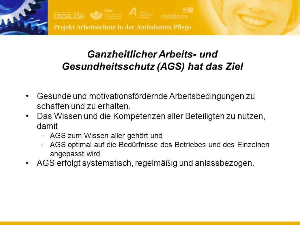 Ganzheitlicher Arbeits- und Gesundheitsschutz (AGS) hat das Ziel