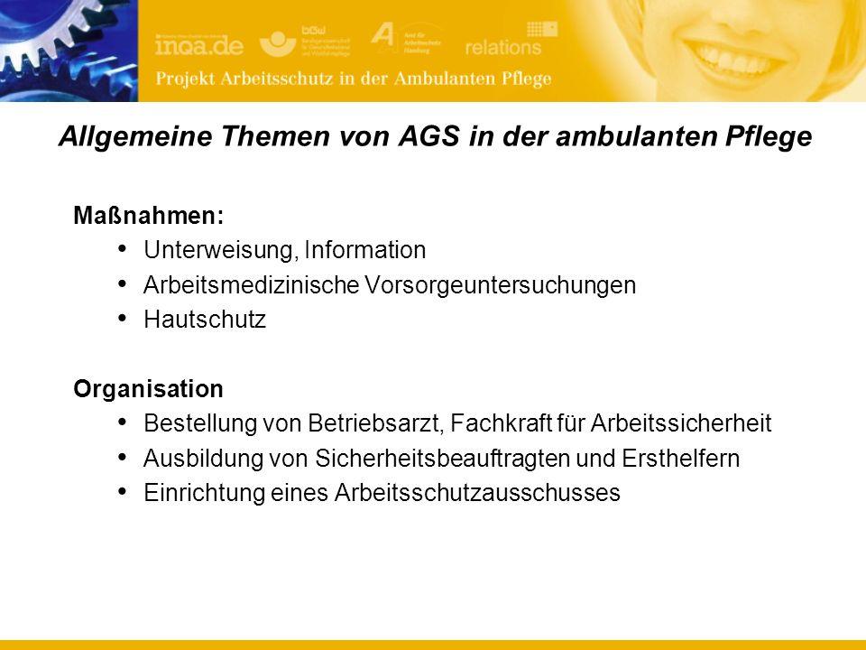 Allgemeine Themen von AGS in der ambulanten Pflege
