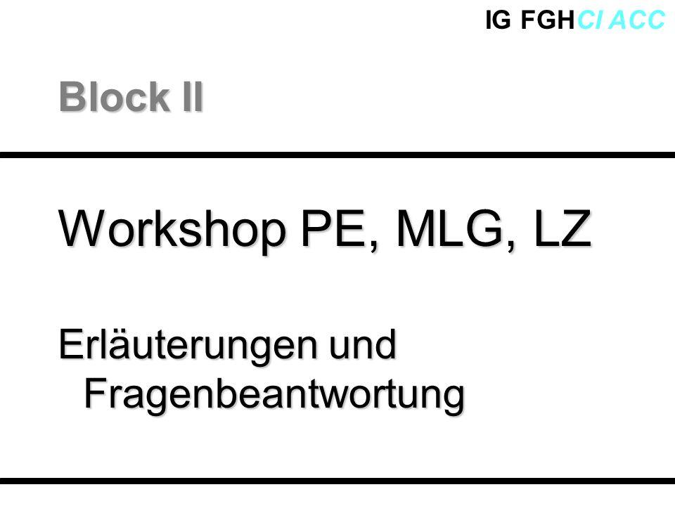 Block II Workshop PE, MLG, LZ Erläuterungen und Fragenbeantwortung