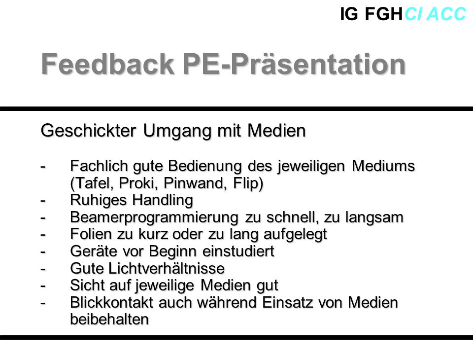 Feedback PE-Präsentation