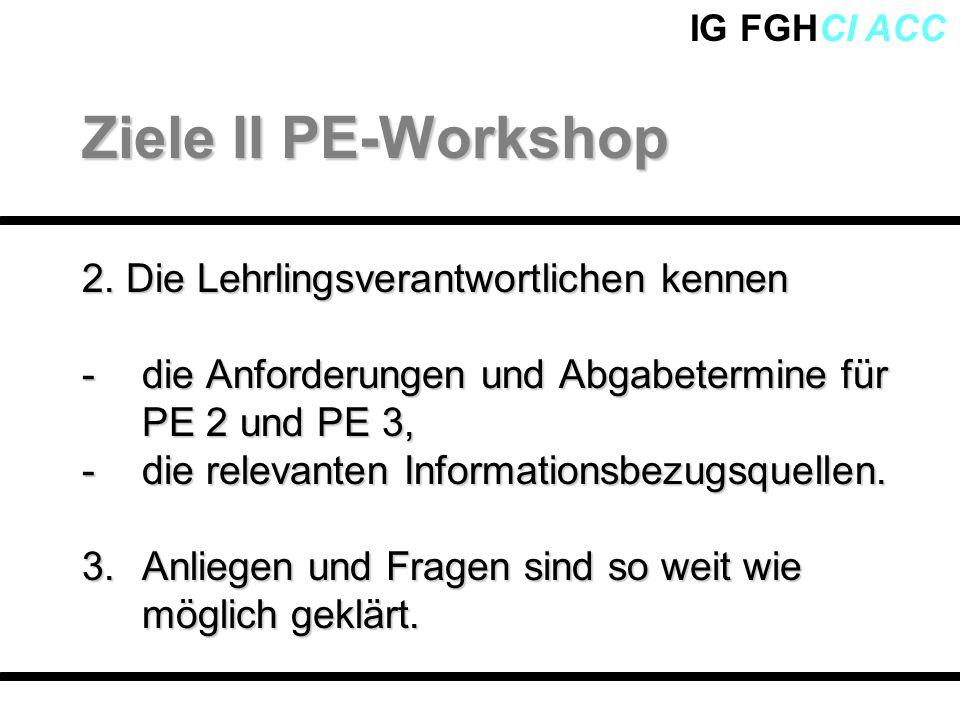 Ziele II PE-Workshop 2. Die Lehrlingsverantwortlichen kennen