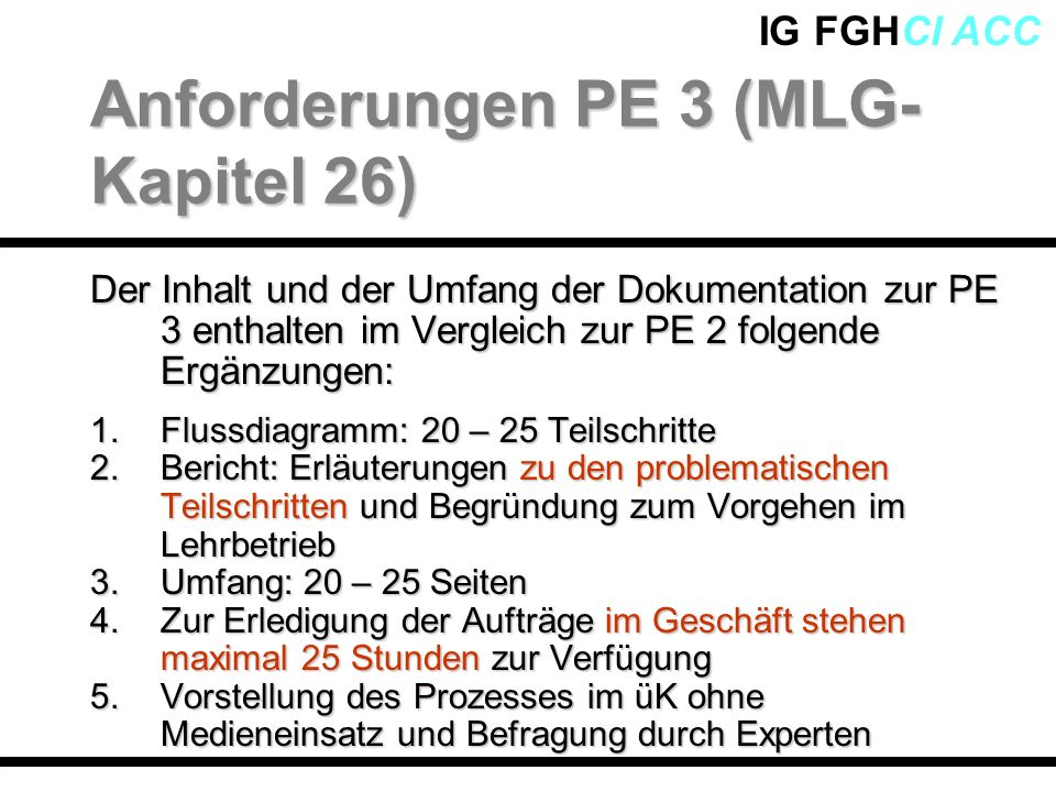 Anforderungen PE 3 (MLG-Kapitel 26)