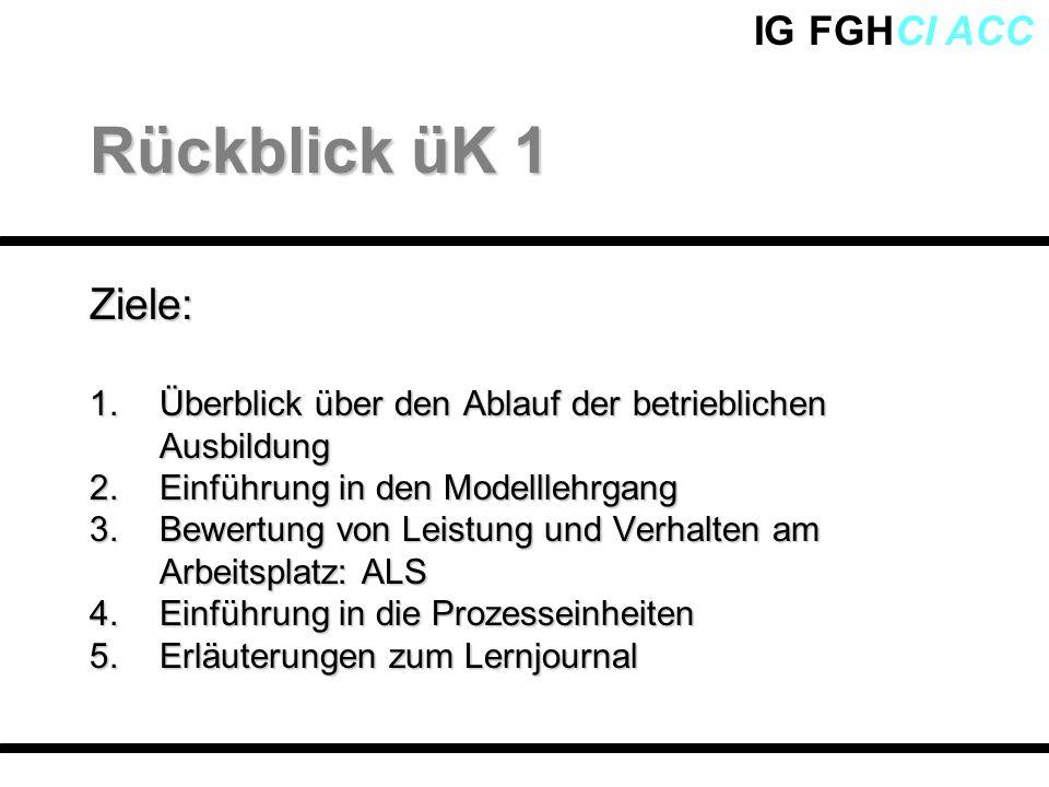 Rückblick üK 1 Ziele: Überblick über den Ablauf der betrieblichen Ausbildung. Einführung in den Modelllehrgang.