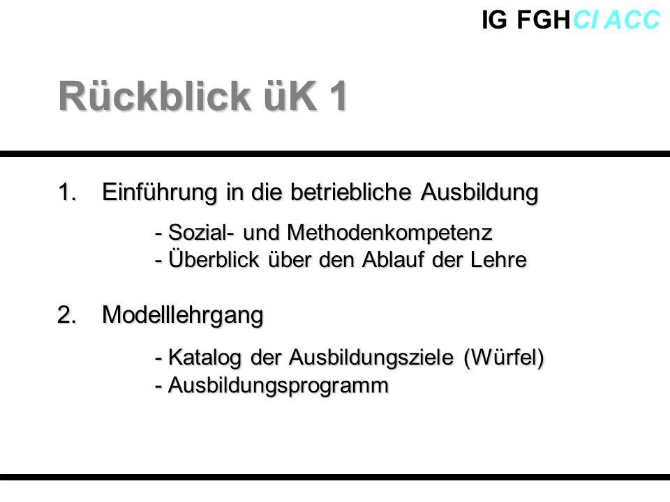 Rückblick üK 1 - Katalog der Ausbildungsziele (Würfel)