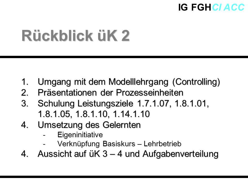 Rückblick üK 2 Umgang mit dem Modelllehrgang (Controlling)