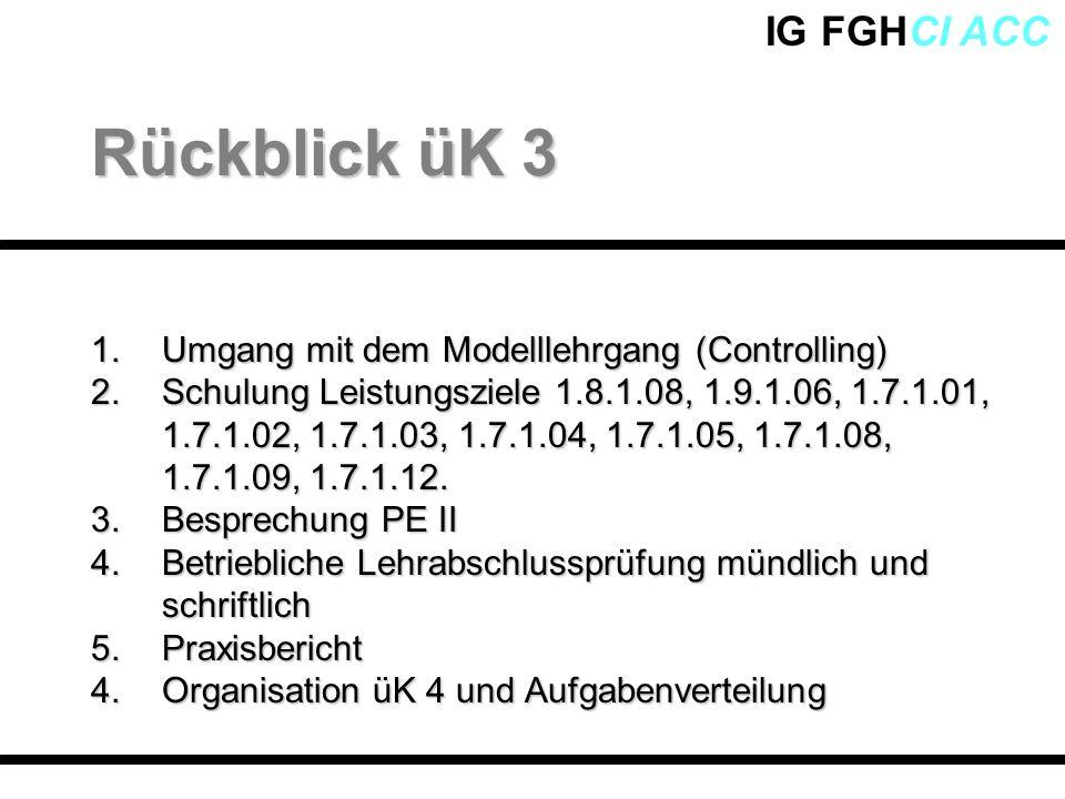 Rückblick üK 3 Umgang mit dem Modelllehrgang (Controlling)
