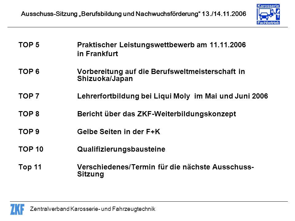 TOP 5 Praktischer Leistungswettbewerb am 11.11.2006 in Frankfurt