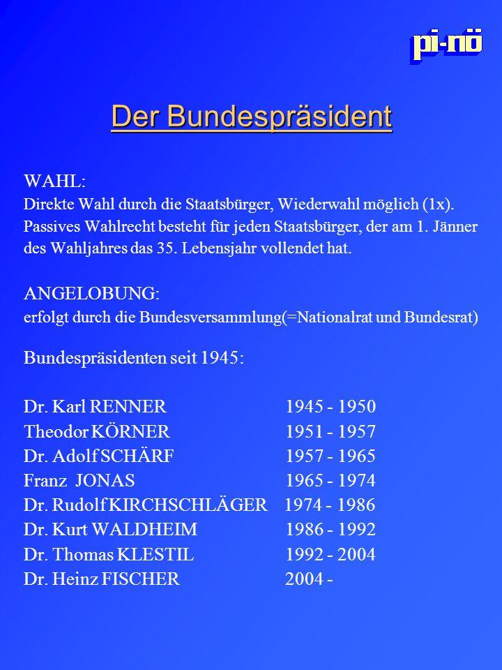 Der Bundespräsident WAHL: ANGELOBUNG: Bundespräsidenten seit 1945: